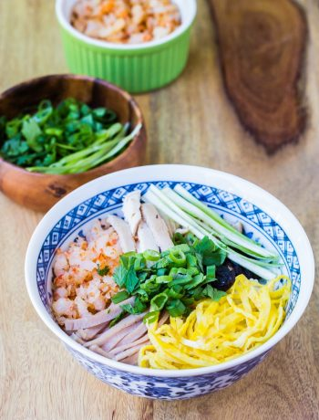 """Bun thang"" Vietnamese chicken vermicelli noodle soup"
