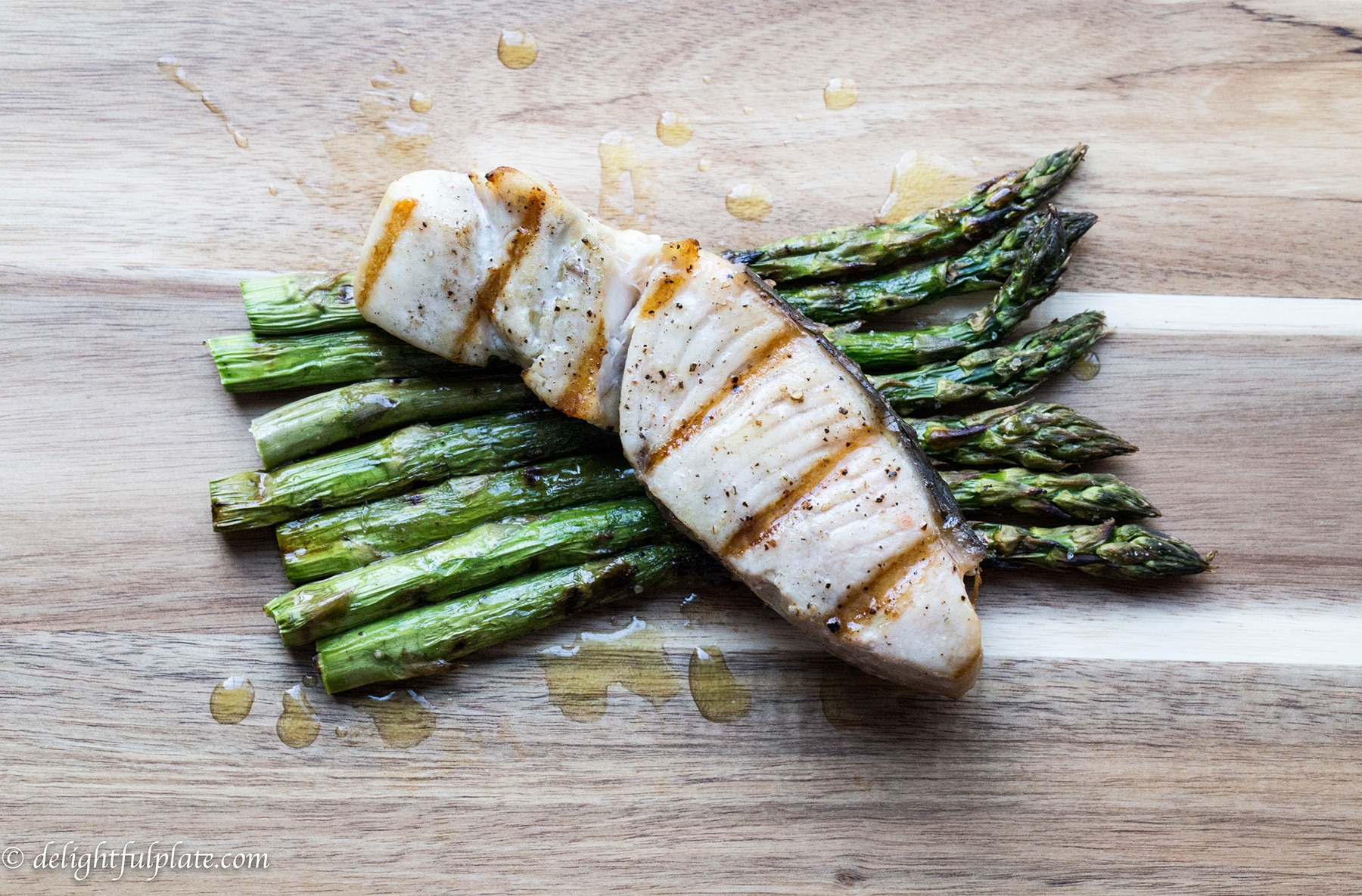 Grilled opah with asparagus delightful plate for Opah fish recipes