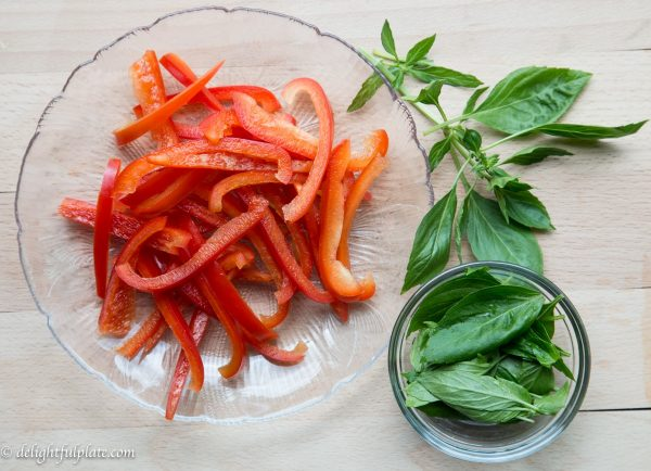 Stir fried beef red bell pepper basil