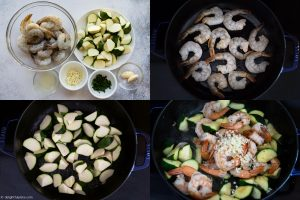 Step by step to make sautéed shrimp zucchini: sear shrimp, stir fry zucchini and throw everything together.