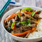Stir-fried beef with red bell pepper and basil