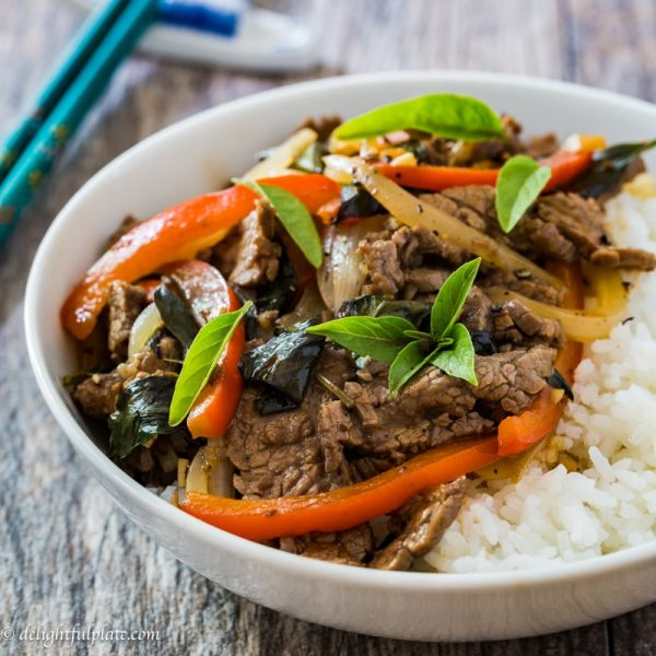 Stir fried Thai basil beef red bell pepper
