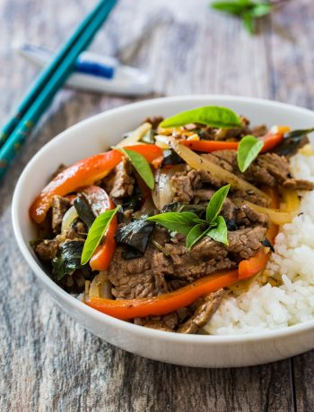 Stir fried Thai basil beef and red bell pepper