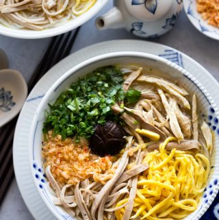 Vietnamese Bun thang (Hanoi rice vermicelli noodles with chicken, eggs and pork)