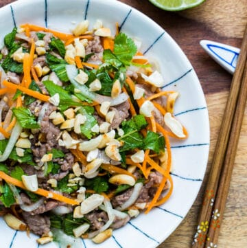 Vietnamese Rare beef in lime juice salad