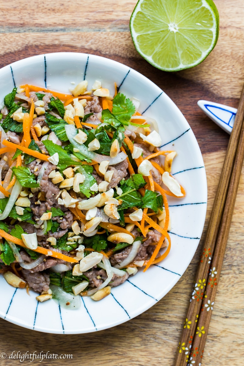 Vietnamese Rare Beef in Lime Juice Salad (Bo tai chanh) - Delightful Plate