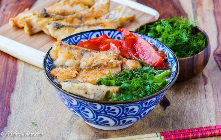 Vietnamese fried fish noodle soup is delicious with light and delicate broth, and crispy toppings