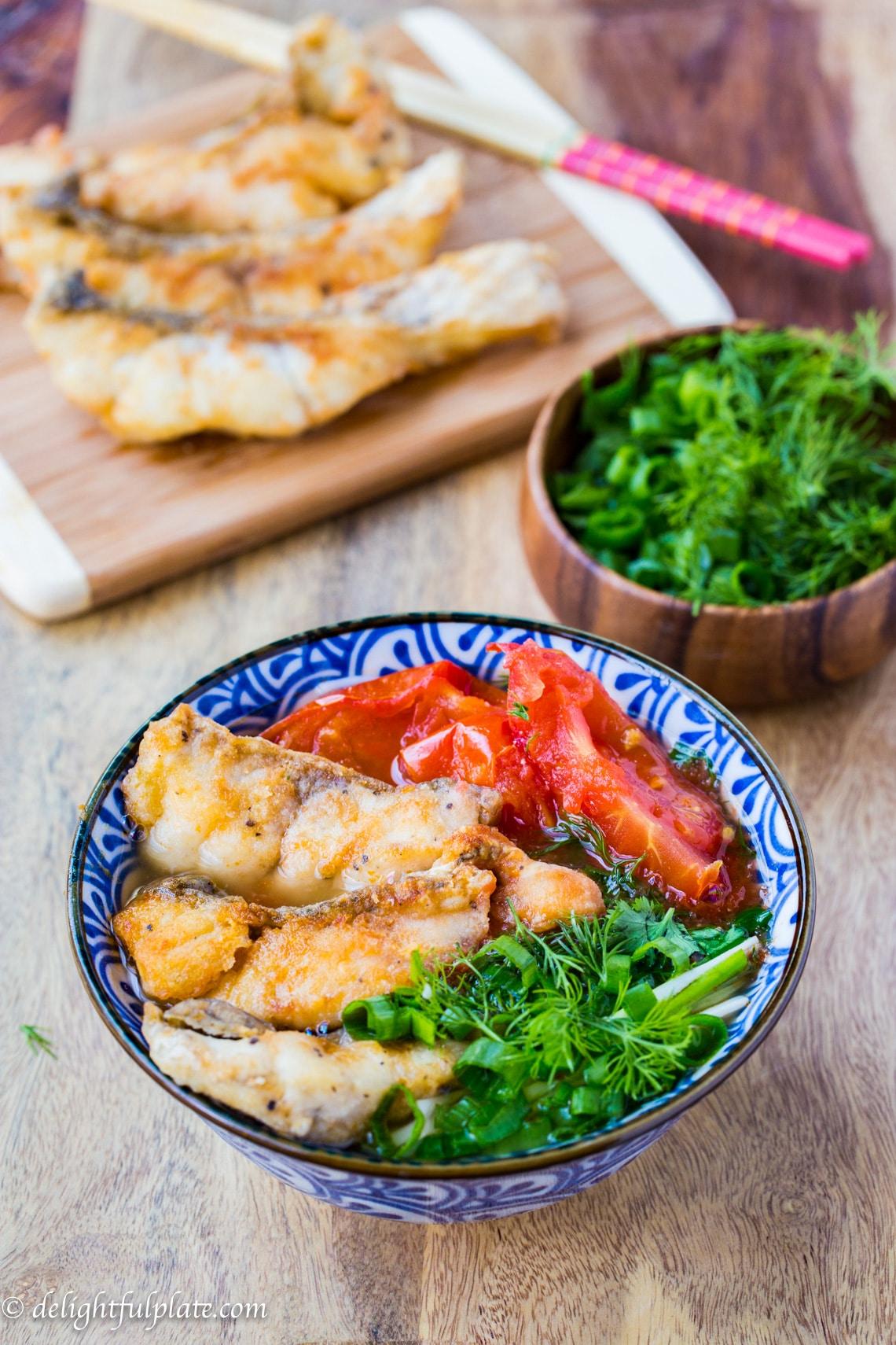 Vietnamese Fried Fish Vermicelli Noodle Soup (Bun Ca) - Delightful Plate