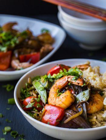 Asian shrimp veggies stir fry