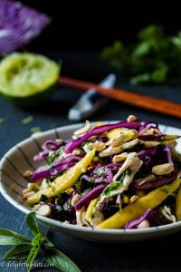 Chicken cabbage mango salad is so refreshing and crunchy with contrasting flavors and textures. It is a beautiful salad with vibrant colors