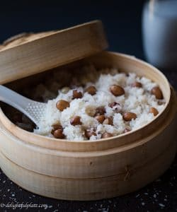 Steamed peanut sticky rice in coconut milk (Xoi lac dua)