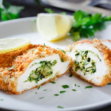 This basil spinach stuffed chicken breast is crispy on the outside, and moist and juicy on the inside. An amazing aroma will greet you when you slice through the crispy exterior.