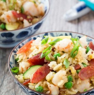 This Shrimp and Chinese Sausage Fried Rice comes together in 20 minutes. So quick and easy! Recipe and tips for making fried rice are on delightfulplate.com.