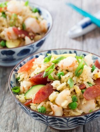 Chinese Sweet Sausage and Shrimp Fried Rice