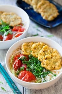 Vietnamese fried fish cake noodle soup (Bun cha ca) is tasty and satisfying. The fried fish cake is slightly crispy outside and springy inside. The tomato dashi broth is light in body, but it is packed with umami.