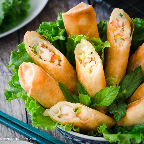 These crispy mayo seafood spring rolls are so satisfying with piping hot filling which includes crab meat, shrimp, and mayonnaise. Serve them with spicy mayo dip, lettuce, and mint, and they will disappear from the plate quickly