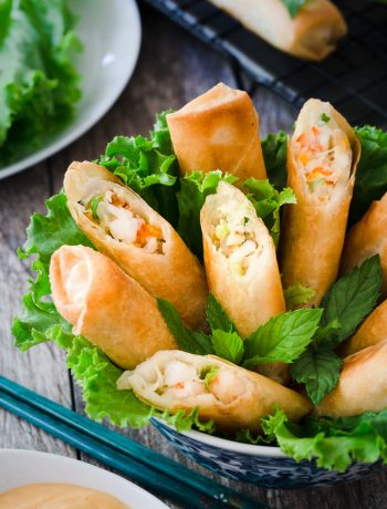 These Vietnamese mayo seafood spring rolls are delicious and crispy with piping hot filling that includes crab meat, shrimp and mayo. Serve with spicy mayo dip, lettuce and mint, and they will disappear quickly.