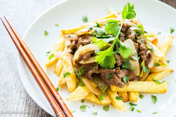 Celery leaves beef stir-fry with crispy fries