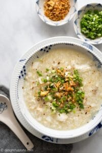 Comforting and delicious Vietnamese fish congee (Chao ca) made easy in an electric pressure cooker such as an Instant Pot.