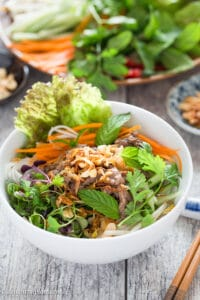 Vietnamese Beef Noodle Salad (Bun Bo Xao) is packed with crunchy veggies, refreshing herbs and flavorful beef. This healthy dish is quick and easy to make and can be either a main a side dish.