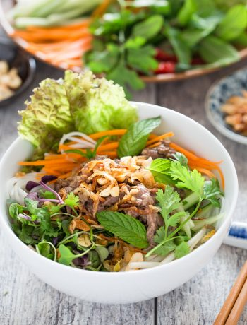 Vietnamese Beef Noodle Salad (Bun Bo Xao) is packed with crunchy veggies, refreshing herbs and flavorful beef. It is quick and easy to make and can be either a main a side dish.