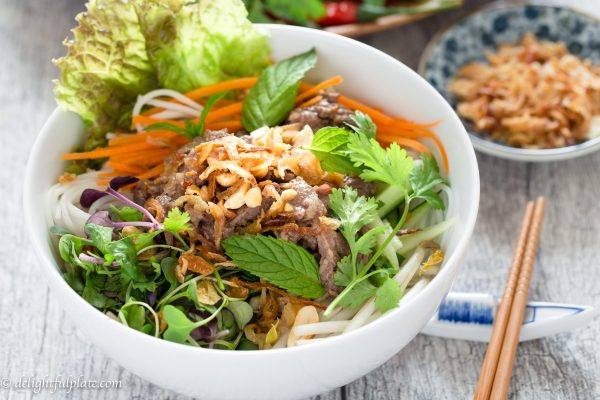 Vietnamese Beef Noodle Salad (Bun Bo Xao) is healthy and tasty with flavorful beef, fresh herbs and veggies. This simple noodle dish can be either a main or side dish.