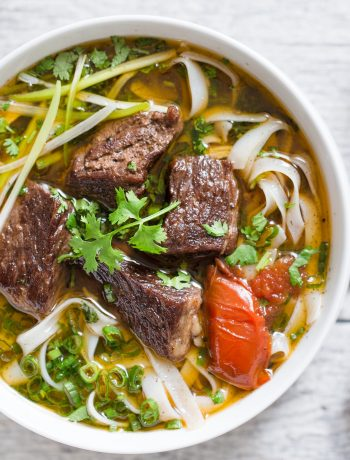 Vietnamese beef stew pho noodle soup (Pho bo sot vang) is a hearty and comforting noodle soup. This noodle soup features tender beef, flavorful broth and amazing aroma from pho spices.
