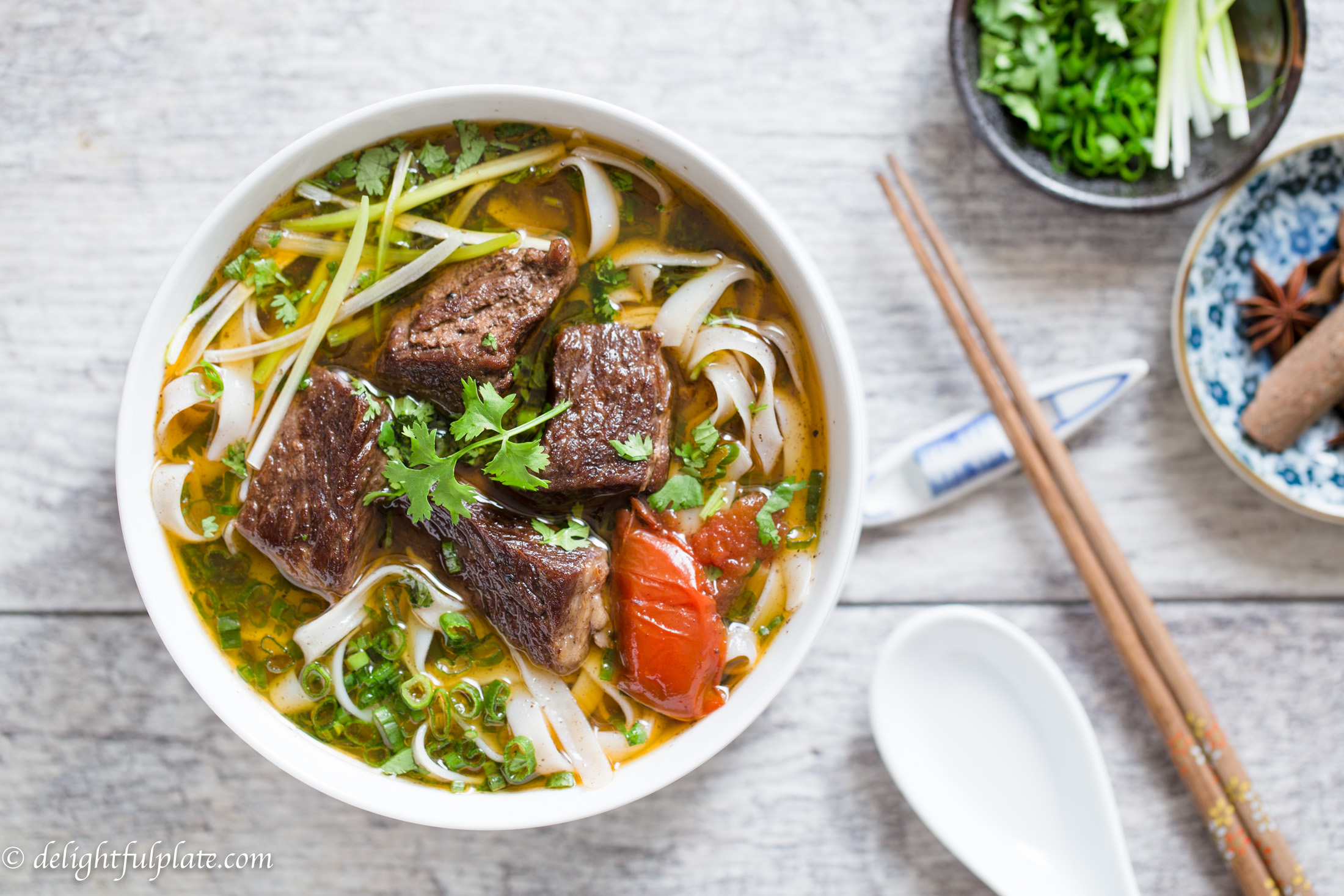 Vietnamese Beef Stew Pho Noodle Soup (Pho Bo Sot Vang) is a hearty and comforting noodle soup with tender beef and amazing aroma.