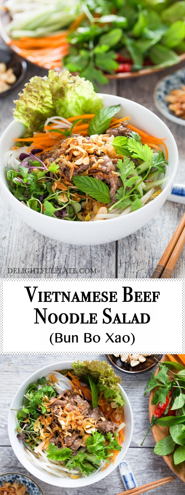 Vietnamese beef noodle salad is tasty with tender beef, crunchy veggies and refreshing herbs. It can be either a salad or main dish.