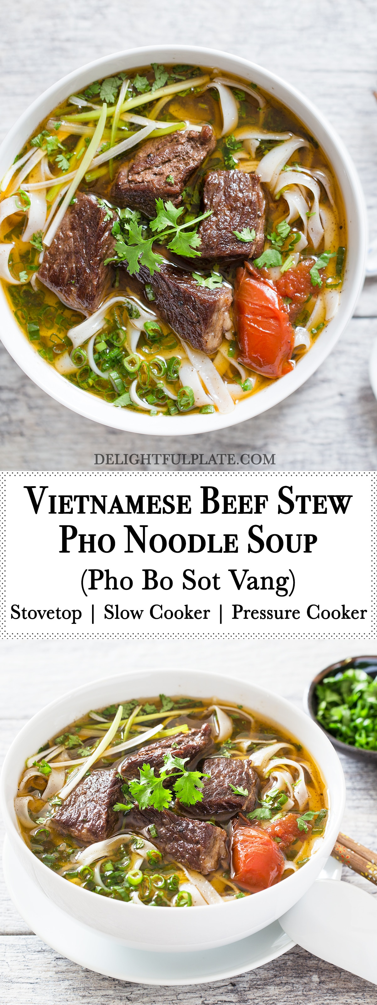 Vietnamese beef stew pho noodle soup (Pho bo sot vang) is so hearty and comforting. You can make it on stovetop, in a slow cooker or a pressure cooker.