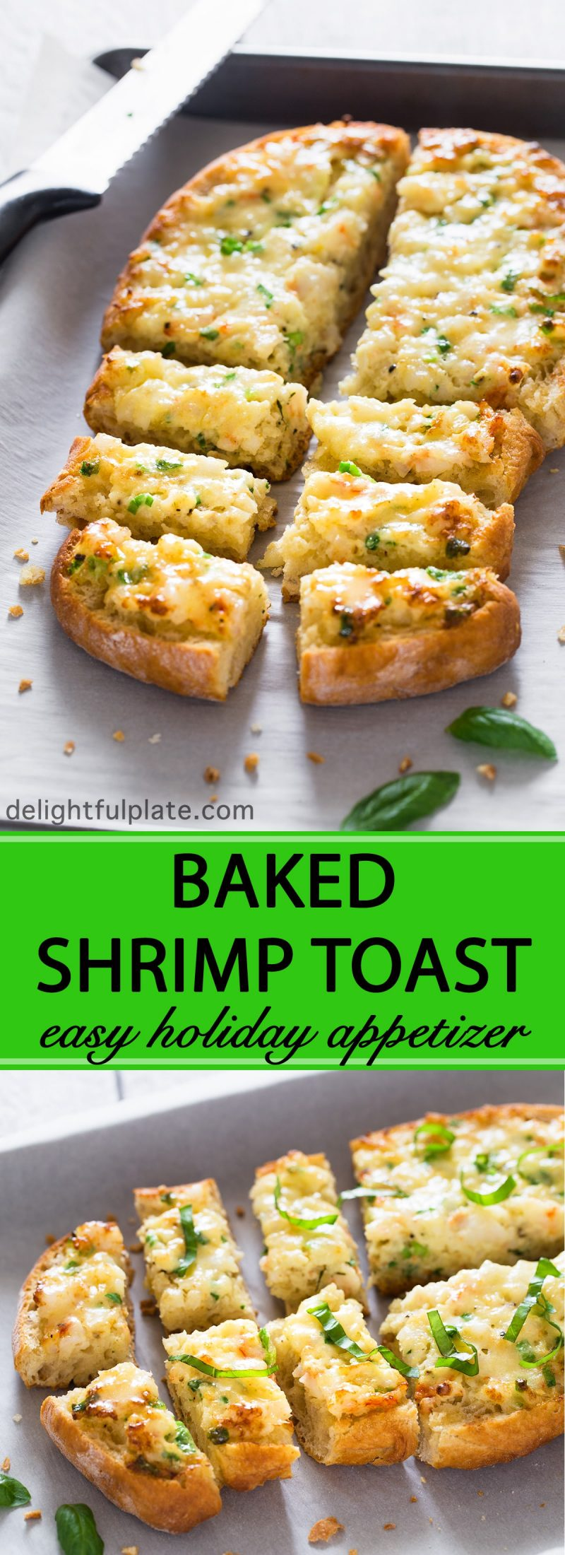 This baked shrimp toast features rich and creamy shrimp mixture on top of crispy bread. If you are looking for a quick and easy appetizer for your next party, give this a try.