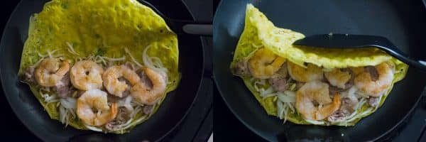 Cooking and folding Vietnamese crepes (Banh Xeo)