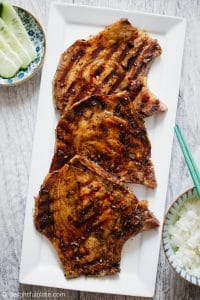 Vietnamese grilled pork chops are tasty and full of lemongrass fragrance. Serve with rice for an quick and easy dinner.