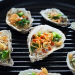 Grilled Oysters with Scallions and Fried Shallots
