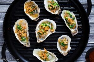 Grilled oysters make excellent appetizers because they are easy to cook, tasty and healthy. These Vietnamese-style grilled oysters are flavorful and beautiful to look at with the additions of scallions and crispy fried shallots.