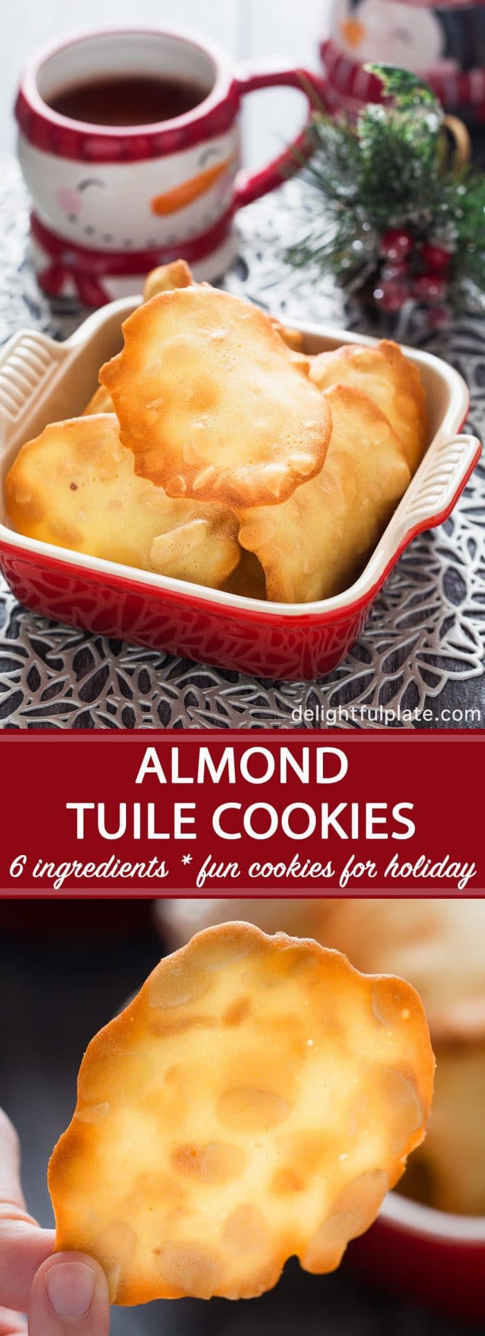 Almond tuile is an elegant French cookie. With just five simple pantry ingredients, you can easily make these crisp, buttery and nutty cookies. They are perfect as everyday cookies as well as cookies for special occasions.
