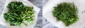 Prepare scallion and dill for Vietnamese turmeric fish (Cha Ca La Vong)