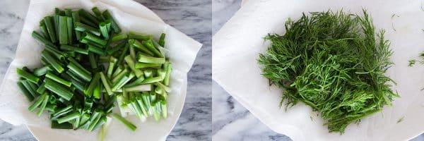 Prepare scallion and dill for Vietnamese turmeric fish (Cha Ca La Vong)