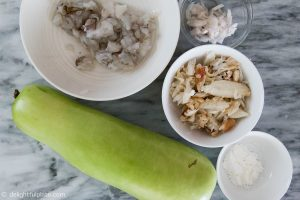 Ingredients for Seafood Opo Squash Soup