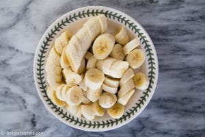Sliced bananas for Vietnamese banana tapioca pudding