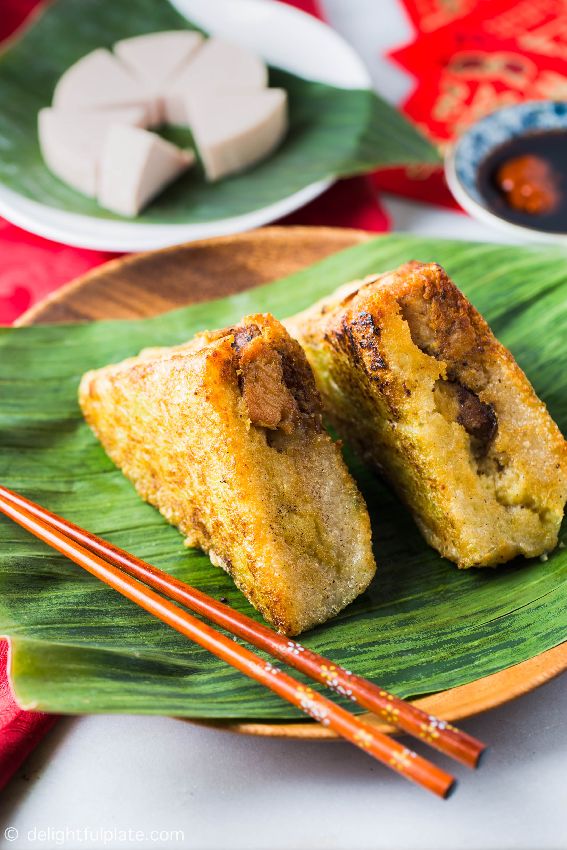 Crispy fried Vietnamese Square Sticky RIce Cake (Banh Chung)