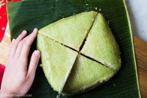 Serving Vietnamese Square Sticky Rice Cake (Banh Chung)