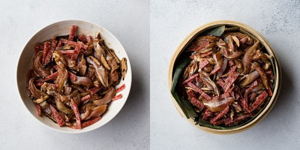 Cooking Vietnamese chicken sticky rice (xoi man): put rice in steamer, and top with chicken, Chinese sausage and shiitake mushrooms.