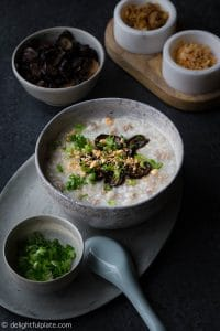 This Pressure Cooker Pork Congee is very easy to make with a pressure cooker such as an Instant Pot. The soy baked mushrooms add an earthy flavor and texture to the congee.