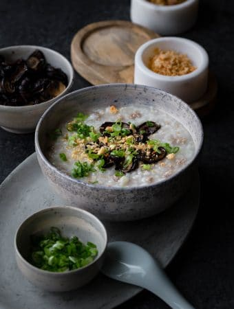 Pressure Cooker Pork Congee with Soy Baked Mushrooms