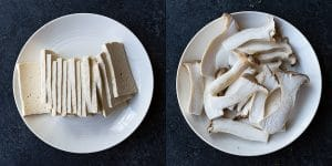 Tofu and King Oyster Mushroom slices