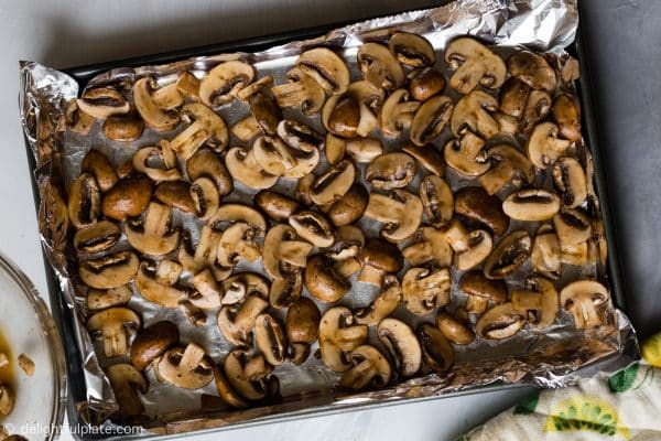 Mushroom slices marinated with soy sauce. Bake for 50-60 minutes to desired texture.