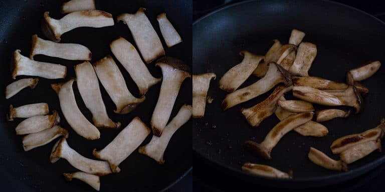 Searing the king trumpet/king oyster mushrooms - toppings for vegan pho