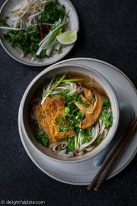 This Vietnamese Vegan Pho Noodle Soup takes just an hour to cook, and it is just as hearty, flavorful and delicious as regular beef pho noodle soup.