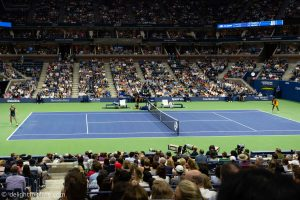 Along the courtside view at Arthur Ashe stadium - US Open tennis tournament